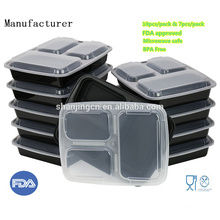 China Factory Microwave Container FDA Approved BPA free Plastic Lunch Box 3 compartment food container