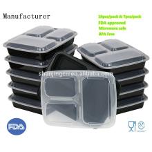 China Fábrica de Microondas Recipiente FDA Aprovado BPA livre de Plástico Lancheira 3 compartimento recipiente de alimentos