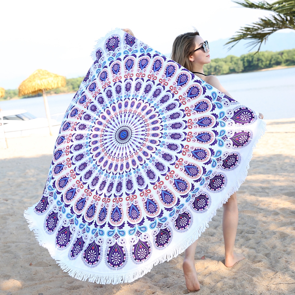 Green Peacock Beach Towel