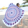 Green Peacock Feather Round Tapestry Beach Towel