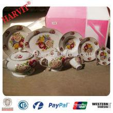 Estilo europeo de porcelana flor rosa juegos de vajilla / de lujo fino real super blanco porcelana cena conjunto de té conjunto con la frontera de oro