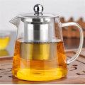 Hitzebeständiges Glas Teekanne Edelstahl