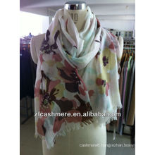 pure cashmere print worsted scarf