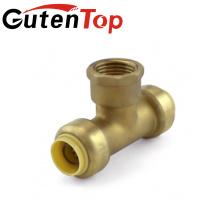 GutenTop alta calidad y venta caliente sin plomo ajuste de la bomba de empuje de latón hembra y camiseta rápida para tubo