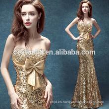 Golden Mermaid piso-Lengh celebridad vestidos de noche con arco grande Navidad formal vestido de fiesta de oro