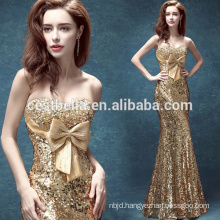 Golden Mermaid Floor-Lengh Celebrity Evening Dresses with Big Bow Christmas Formal Party Gown Golden
