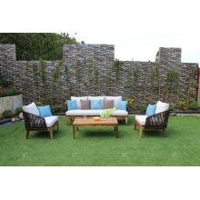 FLORES COLLECTION - Newest Design Poly Rattan PE Sofa set with acacia wooden legs for Outdoor Garden Furniture