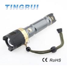 XML T6 conduziu a lanterna elétrica do sistema do foco da borracha com martelo da emergência