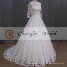 Appliqued vestido de novia de encaje vestidos de boda musulmana con mangas largas