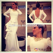 White Long Sleeves Bare Back Designs Boden Länge Custom Make Long Celebrity Party Kleid RD037 arabischen Promi-Kleid