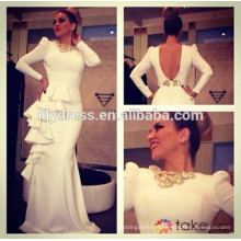 White Long Sleeves Bare Back Designs Floor Length Custom Make Long Celebrity Party Dress RD037 arabic celebrity dress