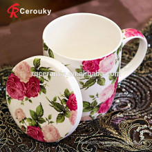 Beautiful flower artwork high quality porcelain bone china mug