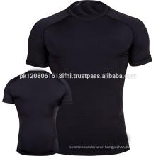 black half sleeve training outfit gym wear rash guard