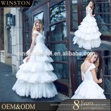 High Quality Latest Layered vestido coberto botão guangzhou vestido de casamento perfeito