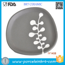 Fancy Artistic Irregular Gray Ceramic Decorative Plate