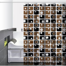Baño impermeable impreso cortina de ducha ganchos Home Depot