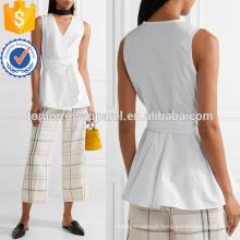 Branco algodão-popeline envoltório superior fabricação atacado moda feminina vestuário (t4127b)