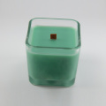 Wooden Wick Fragrance Ljus i Square Glass Holder