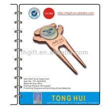Outil de réparation de divots de golf magnétique en métal avec marqueur de balle