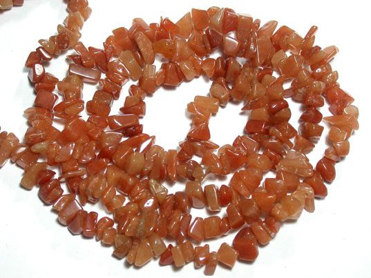 Red Aventurine Chip beads 32 ""