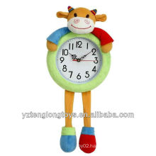 promotional creative and soft plush cow clock gifts for children
