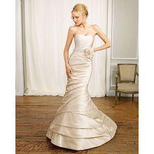 Trumpet Mermaid Scoop Strapless Elastic-satin Chapel Train Manmade Flowers Beading Ruffled Wedding Dress