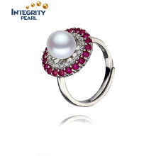 Natural Freshwater Pearl Ring 7.5-8mm Near Round Simple Design Pearl Ring