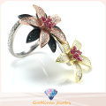Elegant Flower Ring for Woman′s Fashion Jewelry Two Ways Wearing Ring Sliver Jewelry Ring R10503