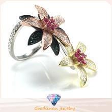Anel elegante da flor para a jóia da forma da mulher Duas maneiras que vestem o anel da jóia da asa do anel R10503