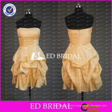 2017 ED Bridal Lovely Strapless Sleeveless Short A Line Drape Organza Cocktail Party Dress With Ribbon Sash