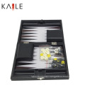 9 Inch Backgammon Games with Black Leather Box
