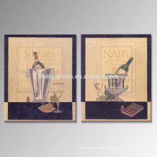 Affiche de toile de Champagne / Décor de maison à l'ancienne Copie de toile de vin / Vente en gros Art de mur classique