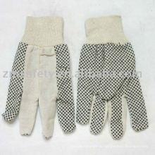 Хлопок сверло перчатки с ПВХ точками