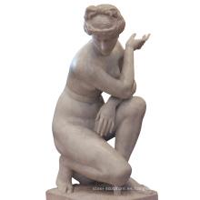 Siglo XIX Venus piedra natural blanca figura femenina escultura estatua italiana de mármol