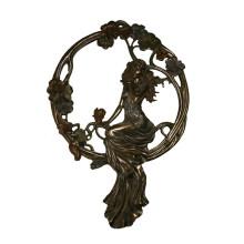 Estatua de latón en relieve Lady Relievo Decor Escultura de bronce en Tpy-675