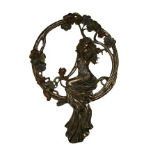 Relief Brass Statue Lady Relievo Decor Bronze Sculpture Tpy-675