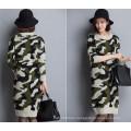 Korean O-Neck Camouflage Sweater Hoodies Knitting Dress
