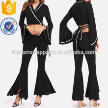 Los pantalones acampanados y superiores de la envoltura de la cinta de la onda fijaron la fabricación de ropa al por mayor de las mujeres de la manera (TA4076SS)