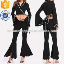 Wave Tape Crop Wrap Top & Flare Pants Set Manufacture Wholesale Fashion Women Apparel (TA4076SS)