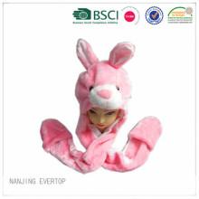 Girls Pink Long Plush Hat Scarf Gloves