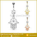 316L Surgical Steel Prong Set CZ Crystal Belly Piercing