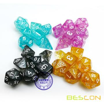 28pcs Assorties Coloré Paillettes Polyédriques Dés 7pcs Ensemble de 4, Glitter RPG Dice Set d4 d6 d8 d10 d12 d20 d