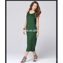 2017 nouvelle arrivée vente chaude femmes longues robe dos nu couleur unie femmes robe d'été