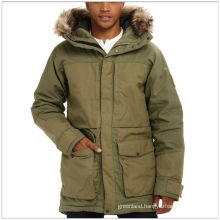 Insulated long durable winter green parka for men