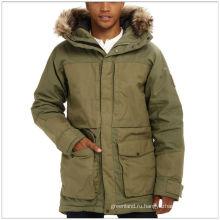 Утепленная длинная прочная зимняя зеленая куртка для мужчин