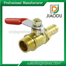 "1/4""PT Male Thread to 10mm Barb Hose Lever Handle Brass Ball Valve"