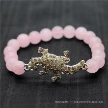 Rose Quartz 8MM Perles rondes Stretch Gemstone Bracelet avec diamant en alliage Lizard Piece