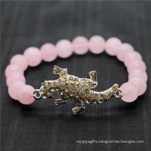 Rose Quartz 8MM Round Beads Stretch Gemstone Bracelet with Diamante alloy lizard Piece