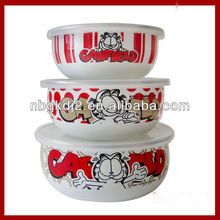 3pcs enamel mixing bowl sets with plastic lid