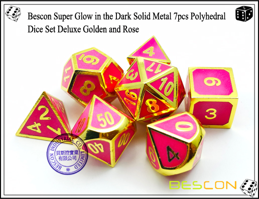 Bescon Super Glow in the Dark Solid Metal 7pcs Polyhedral Dice Set Deluxe Golden and Rose-3